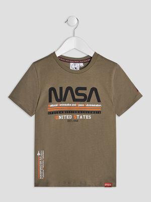 T shirt manches courtes NASA vert kaki garcon