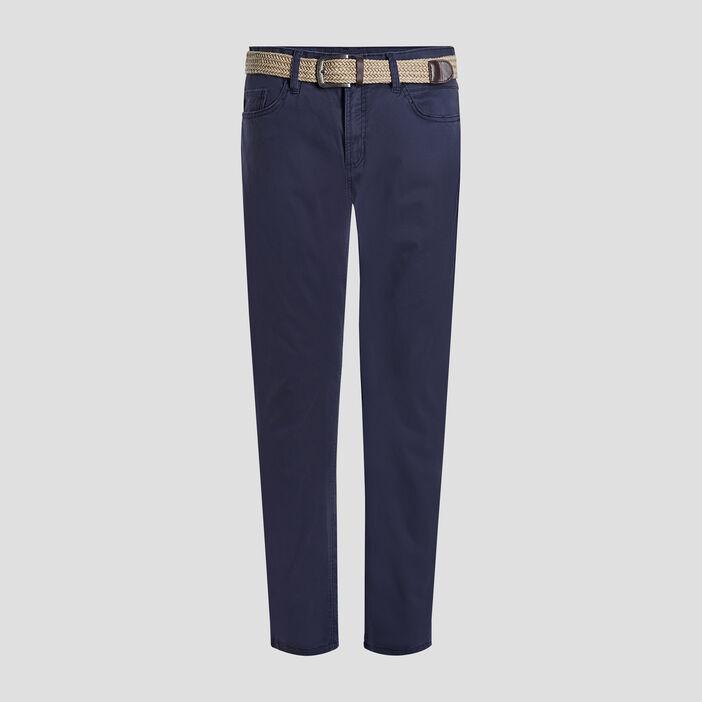 Pantalon droit avec ceinture homme bleu