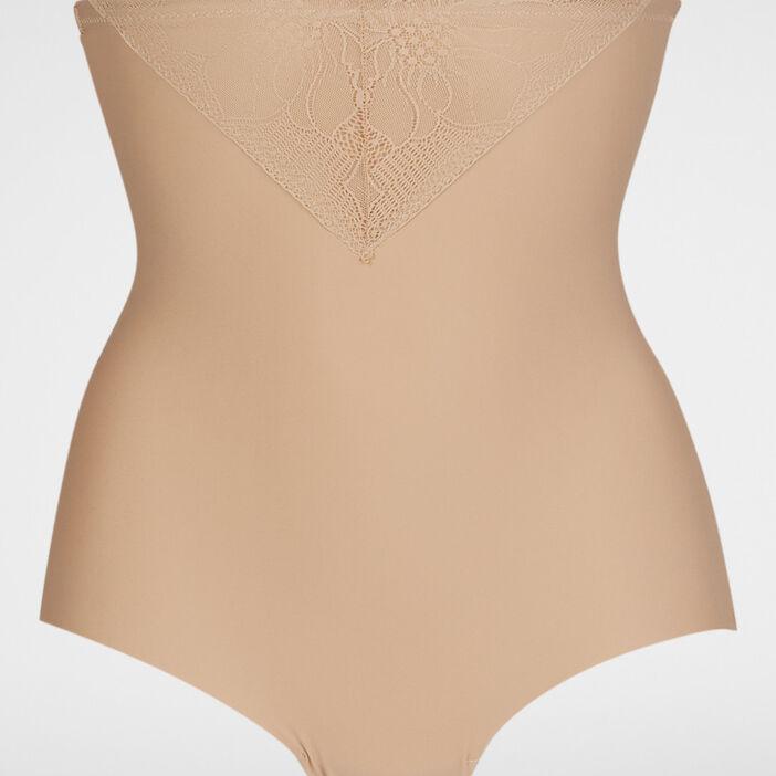 Culotte ventre plat avec dentelle femme beige