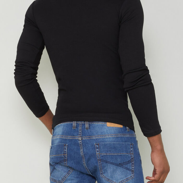 T-shirt en coton uni homme noir