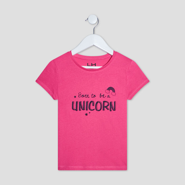 T-shirt manches courtes fille rose fushia