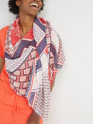 Foulard rectangle imprime multicolore femme