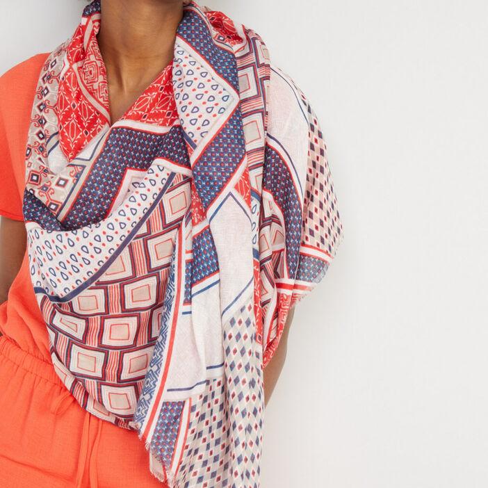 Foulard rectangle imprimé femme multicolore