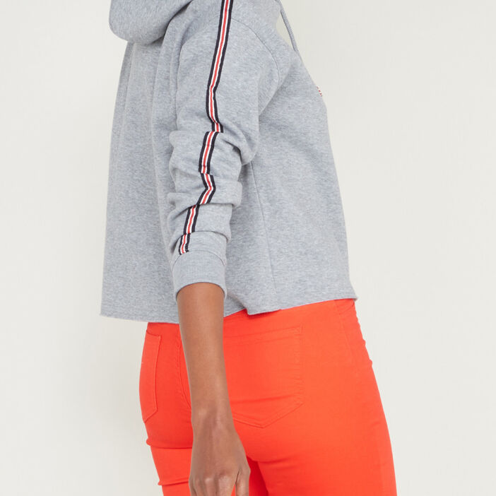 Sweatshirt à capuche cropped femme gris