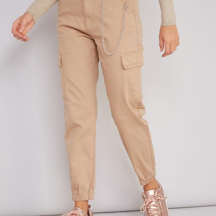Pantalon battle avec chaîne décorative femme beige