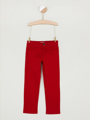 Pantalon regular uni rouge garcon