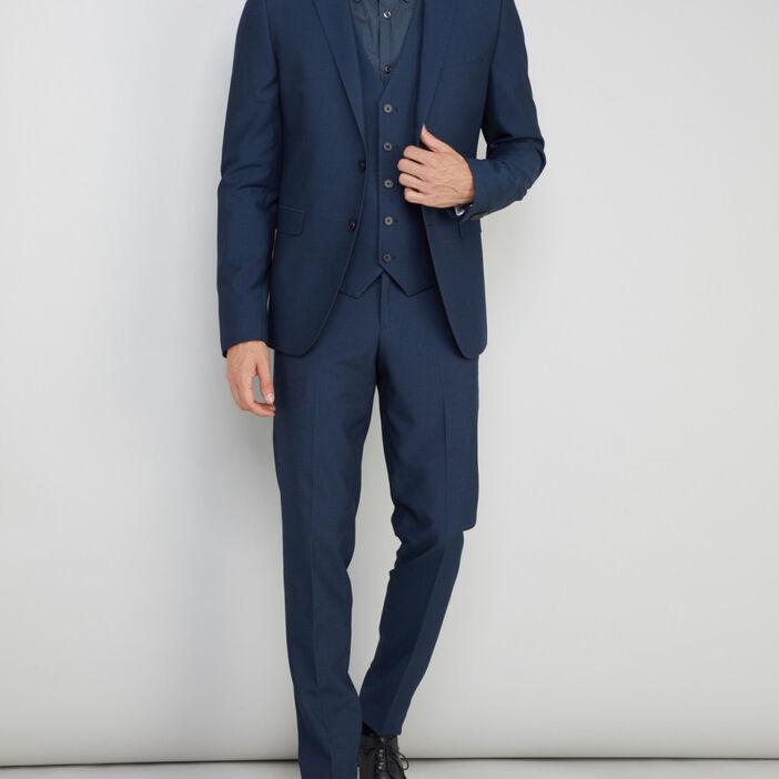Veste ajustée boutonnée homme bleu