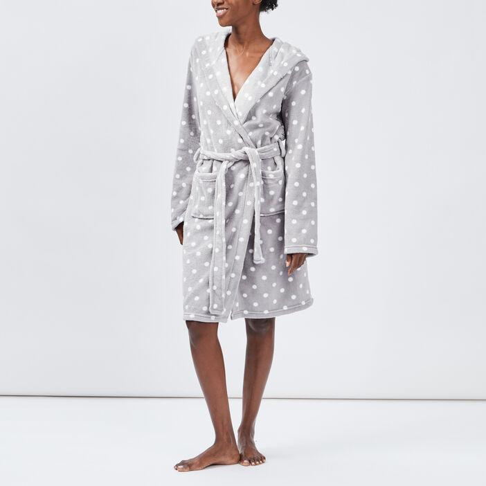 Peignoir à capuche femme gris