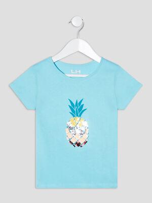 T shirt manches courtes bleu turquoise fille