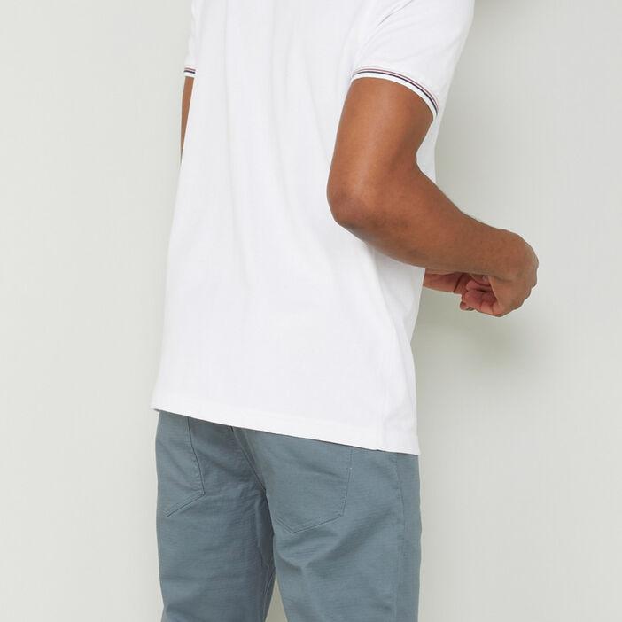 Polo manches courtes en coton homme blanc