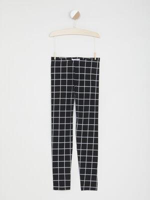 Legging imprime grands carreaux noir fille
