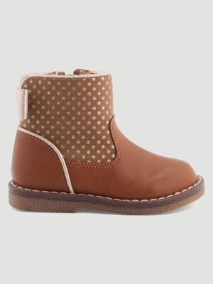 Bottines zippees noeud au dos beige bebe