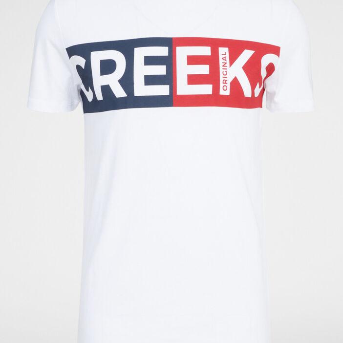 T-shirt col rond en coton homme blanc
