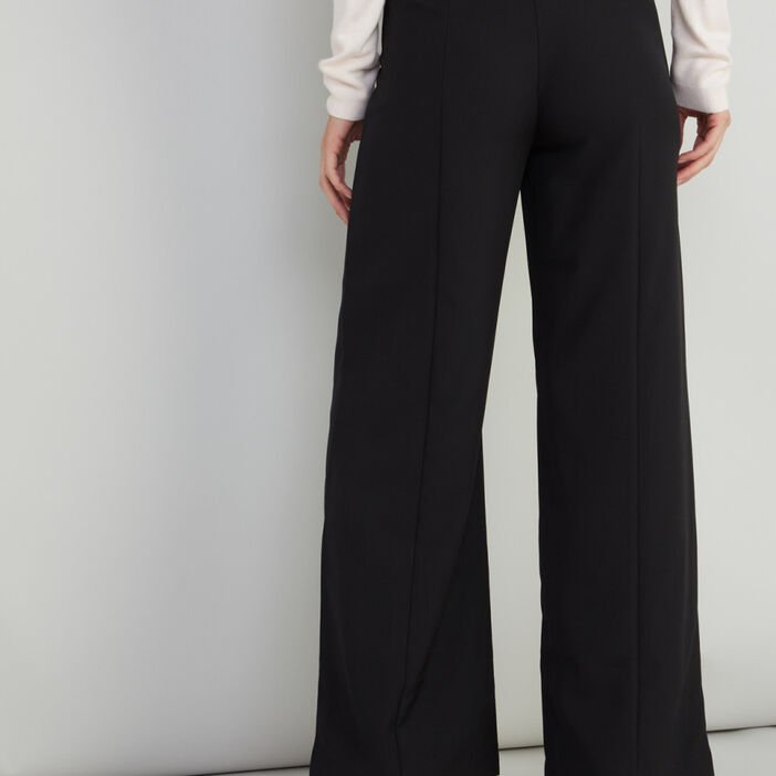 Pantalon large uni détail bijoux femme noir