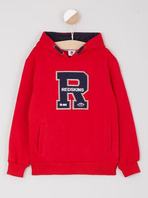 Sweatshirt Redskins uni poches rouge garcon