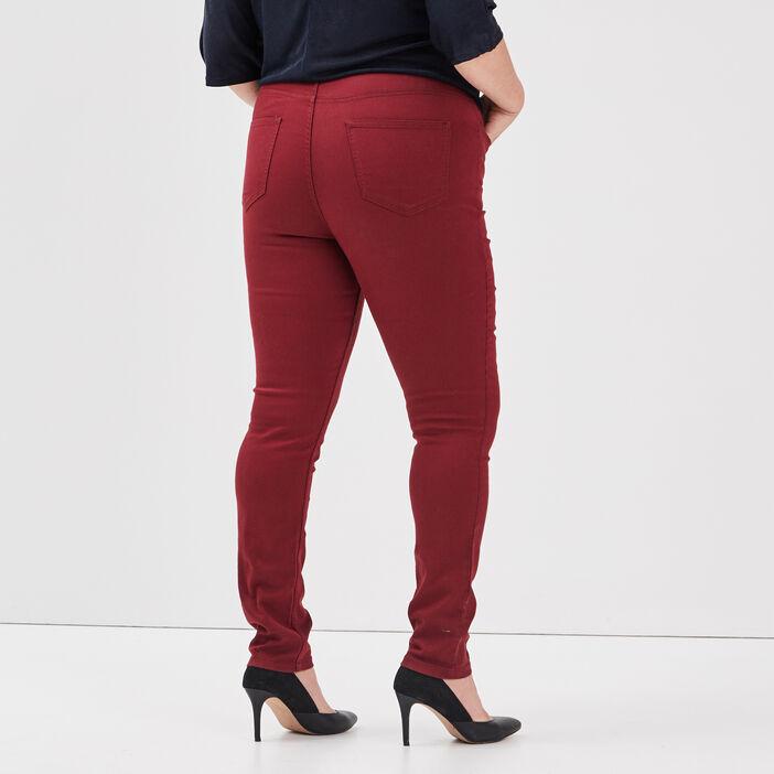 Pantalon slim grande taille femme grande taille bordeaux