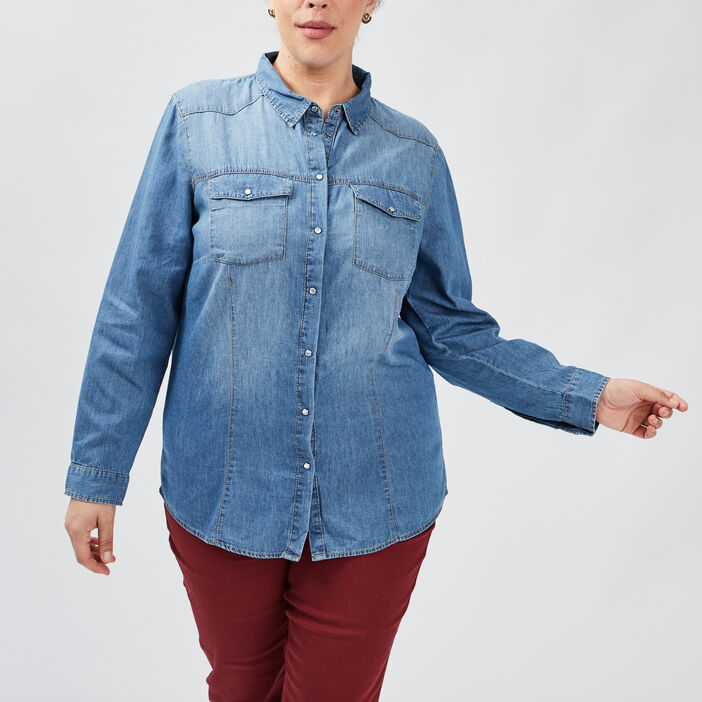Chemise en jean Modavista femme grande taille denim stone