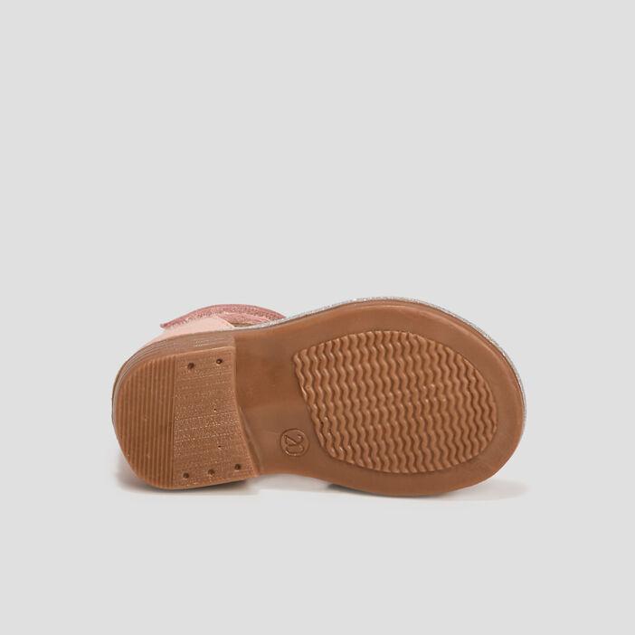 Sandales en cuir bébé fille rose