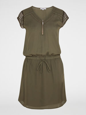 Robe unie col V zippe vert kaki femme