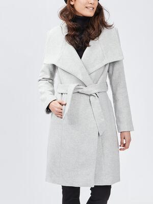 Manteau droit col a revers gris femme