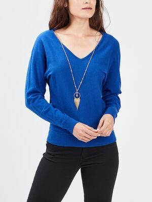 Pull avec detail bijou bleu electrique femme