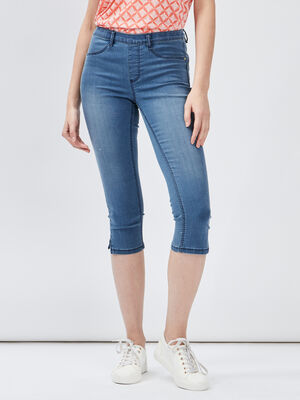Pantacourt slim en jean denim double stone femme
