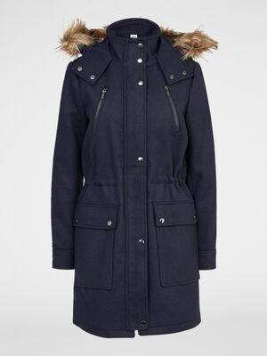 parka a capuche en drap de laine bleu marine femme