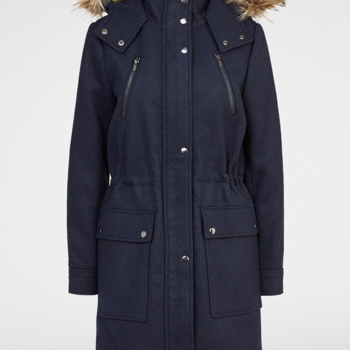 parka à capuche en drap de laine femme bleu marine