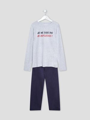 Ensemble pyjama 2 pieces gris clair garcon