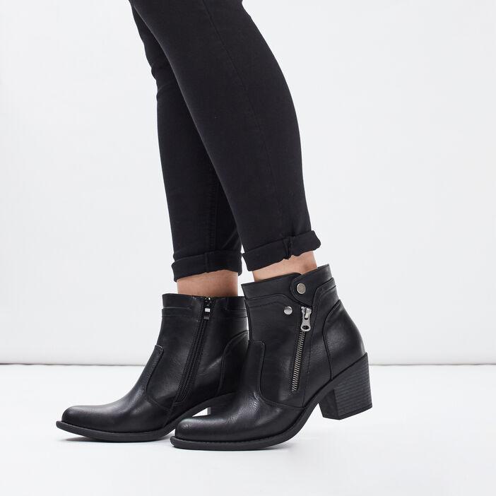 Bottines à talons zippées femme noir