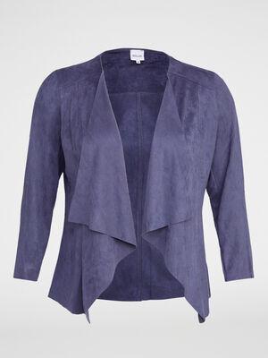 Veste asymetrique en suedine unie bleu marine femme