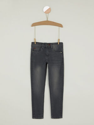 Jeans skinny effet use gris clair garcon