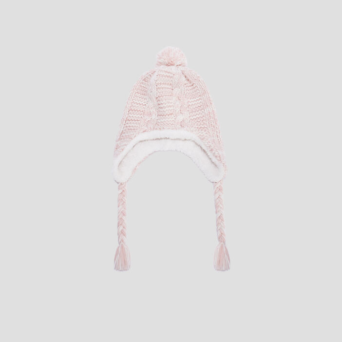 Bonnet péruvien avec pompon mixte rose