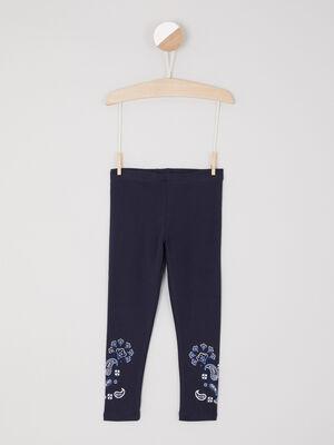 Legging avec imprime bas jambe bleu marine fille
