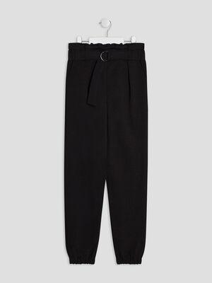Pantalon cargo effet ceinture noir fille