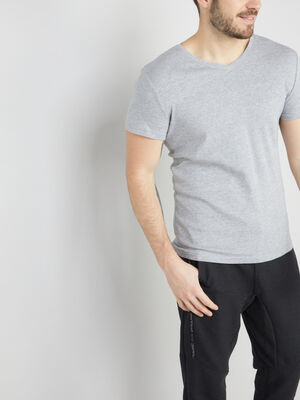 T shirt chine col V gris homme