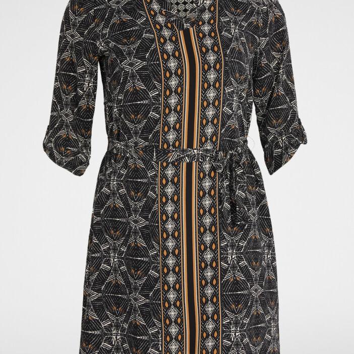Robe imprimée avec ceinture femme noir