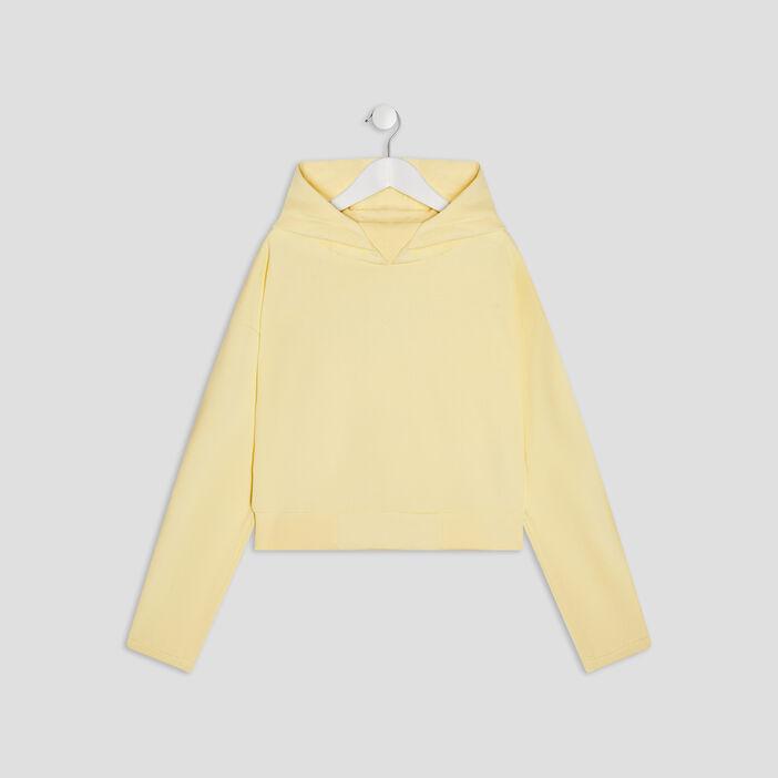 Sweat à capuche fille jaune fluo