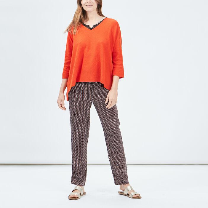 Pull manches 3/4 Liberto femme orange
