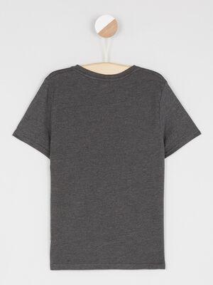 T shirt col V manches courtes gris fonc garcon