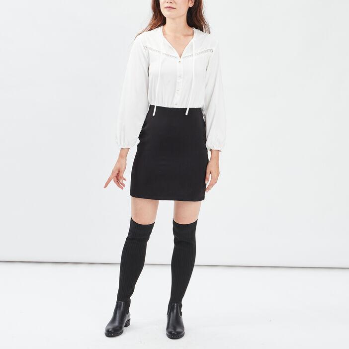 Robe droite effet 2-en-1 femme noir