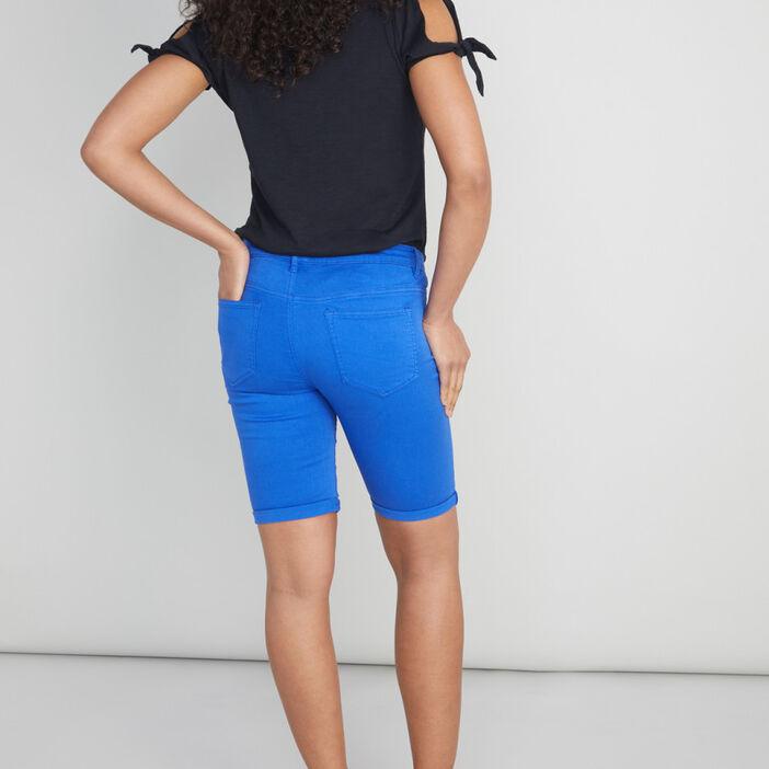Bermuda 5 poches uni femme bleu roi