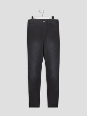 Pantalon skinny taille haute gris fonce fille