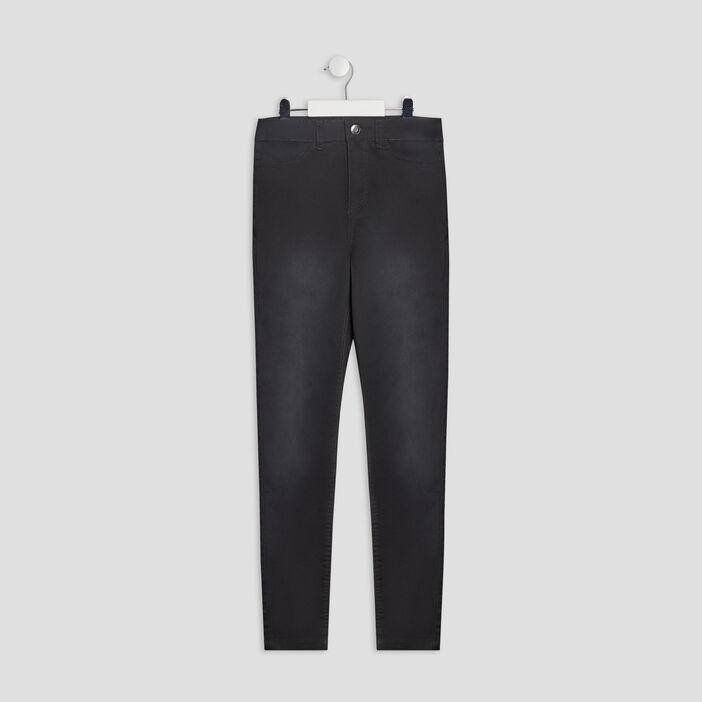 Pantalon skinny taille haute fille gris foncé