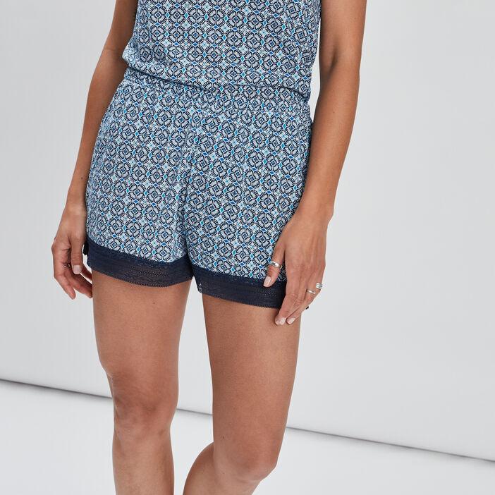 Short de pyjama avec dentelle femme bleu
