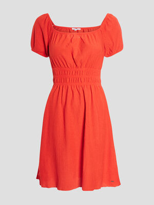 Robe evasee a encolure carree rouge femme