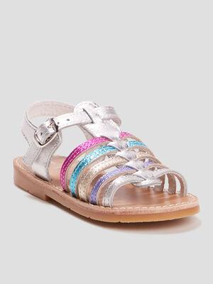 Sandales irisees en cuir multicolore fille