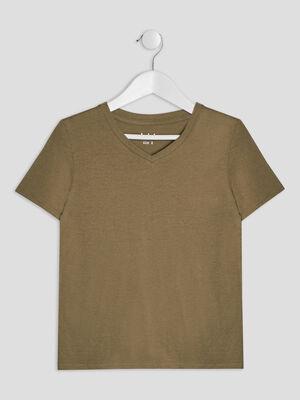 T shirt manches courtes vert kaki garcon