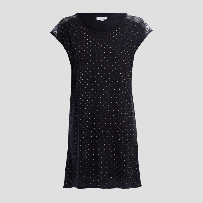Chemise de nuit avec dentelle femme noir