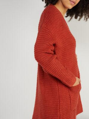 Gilet uni en maille cotelee orange fonce femme